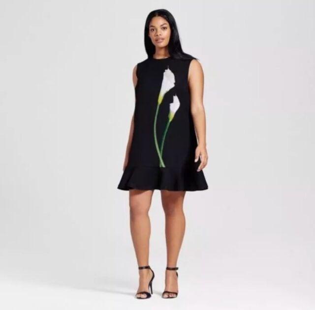 c9d667da4a New Victoria Beckham for Target Black Calla Lily Ruffle Hem Dress Plus 2X  Flower