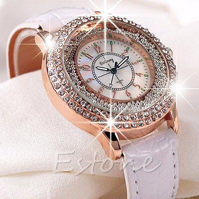 Vogue Lady Women Crystal Dial Leather Bracelet Quartz Analog Luxury Wrist Watch