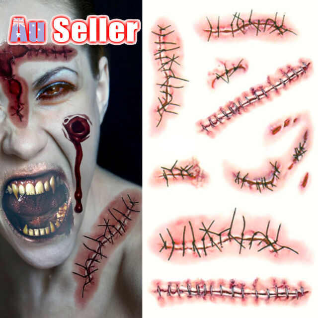 Halloween Zombie Tattoos Makeup sticker Costume Scars Scary horror Blood Fake