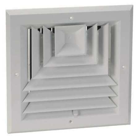Zoro Select 4Mjj2 6 In Square 3-Way Multilouver Ceiling Diffuser, White