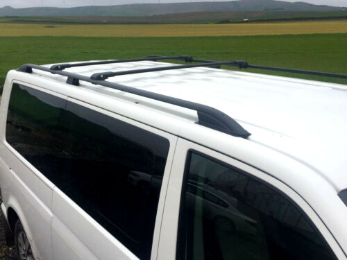 VW T5 T6 on 2003 MULTIVAN CARAVELLE LOCKABLE ROOF RAILS CROSS BARS BLACK SWB