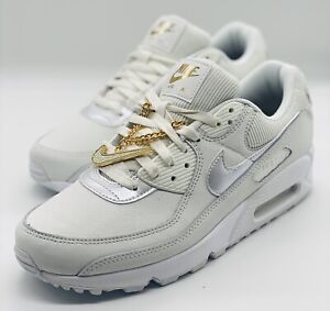 Details about NEW Nike Air Max 90 Swoosh Chain White Gold DC1161-100 Women's Size 5.5