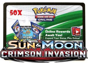 Pokemon TCGO - 50 Crimson Invasion Code - PTCGO - Email - QR - Digital Boosters