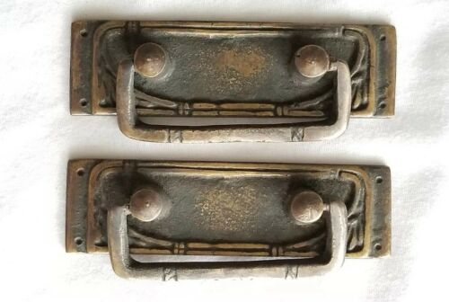 "2 Vtg Antique  Style French Ornate Brass Drawer Handles Pulls 3-1//4/""wide #H42"