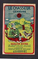 Ancienne  étiquette Alcool Bruxelles  BN12065 Le Chasseur Genièvre Chien