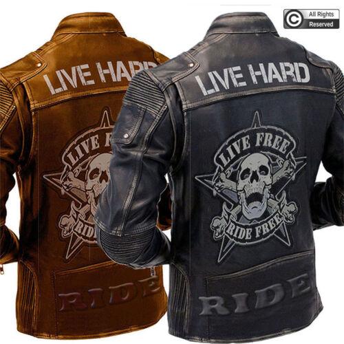 Mens Vintage Biker Style Motorcycle Cafe Racer Distressed Genuine Leather Jacket