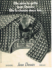 PUBLICITE ADVERTISING  1971   JEAN DESSES   sweaters parfums