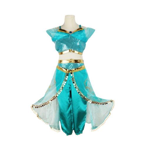 Kdis Girls Aladdin Princess Jasmine Costume Outfit Sequin Chirstmas Fancy Dress