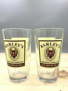 Barley-s-Brewing-Company-Ale-House-Pint-Beer-Glasses-set-of-2-Ships-Same-Day