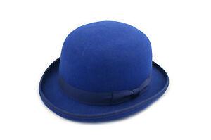 Bleu-Roi-Dur-Haut-100-Laine-Melon-chapeau-en-Satin-double-tailles-S-a-XL