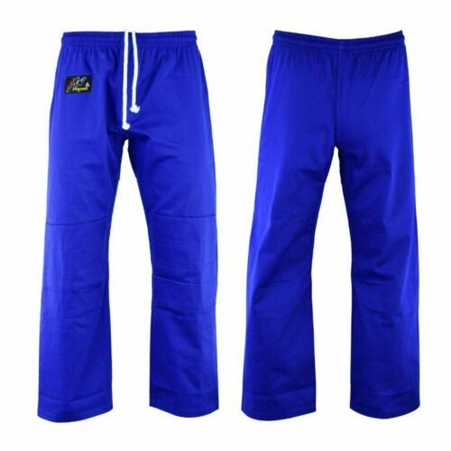 Judo Blue Adults 10oz Trousers Double Knee Protection Gi Training Pants Bottoms
