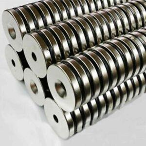 10-stk-Starke-Neodym-Magnete-N52-30x5mm-Bohrung-Senkung-5mm-Magnet-Rund-Set