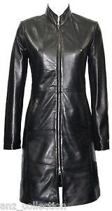 Celebrity Jacket Fashion Length Natlie Leather Black Knee Ladies Women Designer tqtSzaXw