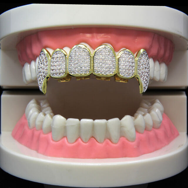 14k Gold Plated Hip Hop Iced Out Two Tone Si CZ Teeth Grillz Caps Fang Top