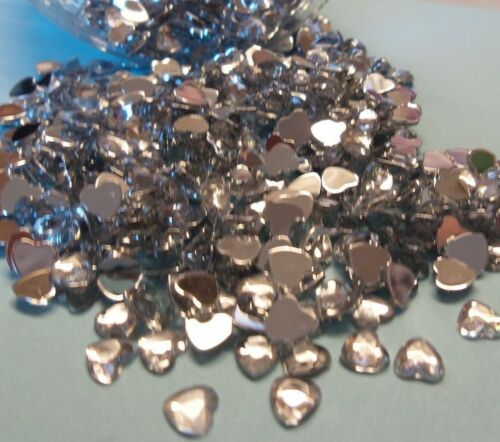 300 4mm Silver Heart Gems Wedding Invites Cards Favours Crafts