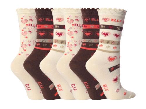 crème Socquettes toutes tailles ye11 6 paires de filles designer elle marron
