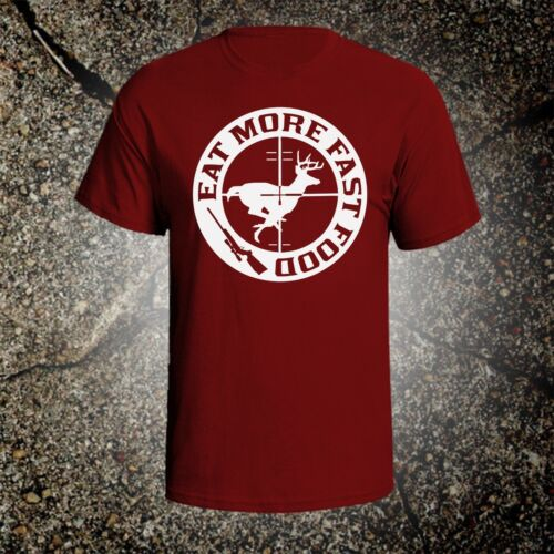 Eat More Fast Food hunting vintage style graphic t shirt tee browning ruger