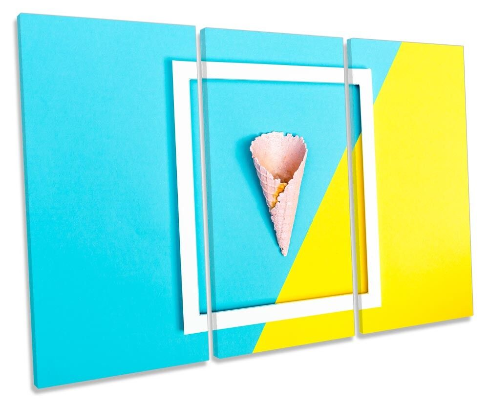 Blau Gelb Ice Cream Kitchen Bild TREBLE CANVAS Wand Kunst Drucken