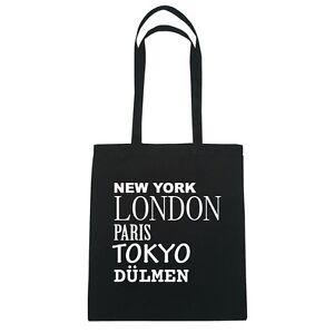 New York, London, Paris, Tokyo DÜLMEN - Jutebeutel Tasche - Farbe: schwarz