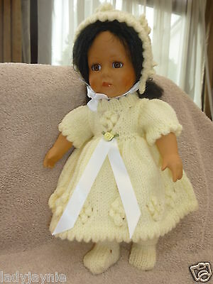 Baby Doll Vintage Style Dress, Bonnet & Booties In Lemon to fit 12-14 Inch Dolls
