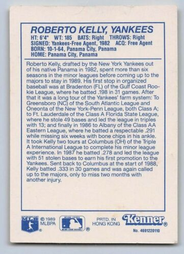 Details about  /1990  ROBERTO KELLY Kenner Starting Lineup Card Yellow NEW YORK YANKEES -