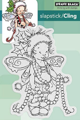 Christmas Garland Pixie Cling Style Unmounted Rubber Stamp PENNY BLACK 40426