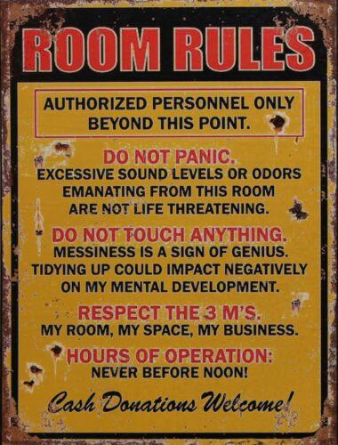 """Lustiges Blechschild """"Room Rules"""" - Hausordnung in englischer Sprache"""