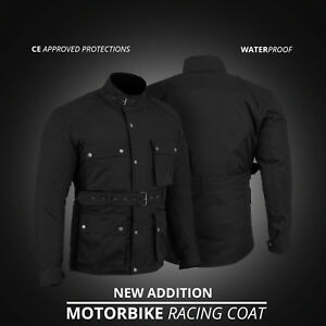 New-Motorbike-Motorcycle-Textile-Cordura-Coat-Jacket-Waterproof-CE-Armours-Black