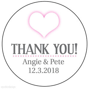 Image Is Loading 35 X Personalised Pink Heart Wedding Thank You