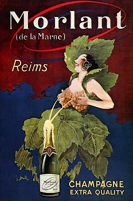 WHITE GRAPES BREASTFEEDING CHAMPAGNE MORLANT REIMS FRENCH VINTAGE POSTER REPRO