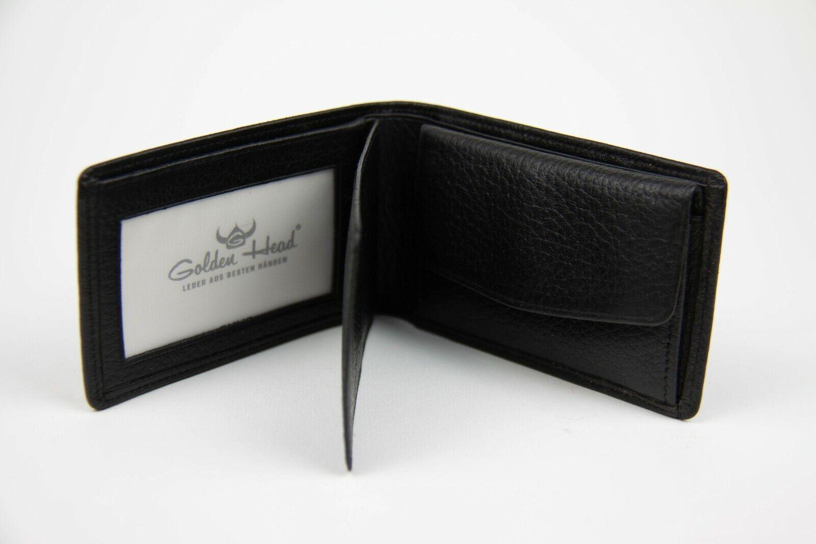 Golden Head Leather Wallet Small Soft Black Handy Men France