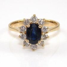 BH Effy 14K Yellow Gold Natural Blue Sapphire Diamond Halo Ring Size 6.75