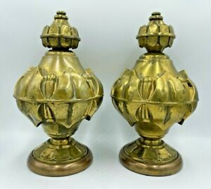 Pair Rare Antique Large Gold Brass Decorative Ornate Carriage Finials