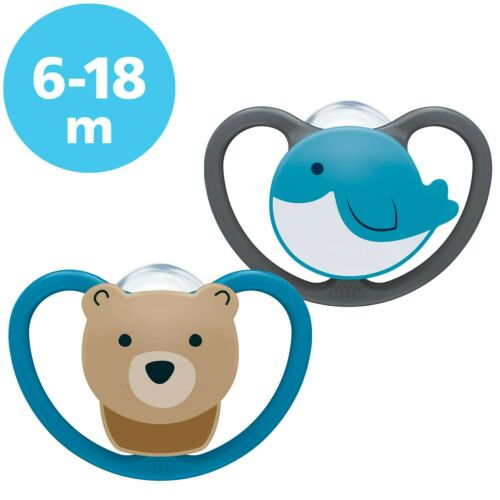 Silicone 6-18 Months Bear and Whale 2 Count Bear//Whale NUK Space Baby Dummy