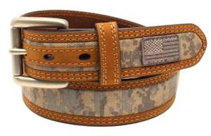 Ariat Western Mens Belt Leather Embroidered USA Flag Patch Camo Brown A1035028