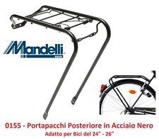 """0155 Portapacchi Post. Mandelli in Acciaio Nero per Bici 24""""-26"""" MTB Mountain Bi"""