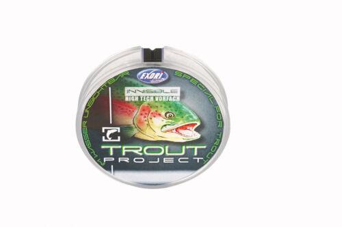 0,16€//m 50m Trout Project Invisible Flourcarbon Schnur Forelle Fliege Vorfach