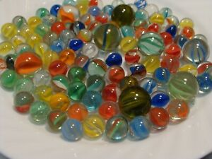 100 Fun Vintage Cats Eye Marbles Shooters Red Blue Yellow Green Old Time Toys