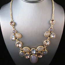 NEW Modern Anthropologie Modern Miragie Lavender Gold Rhinestone Necklace