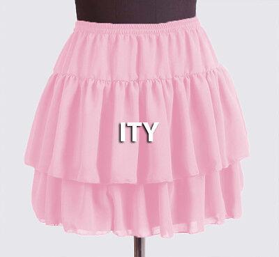 25 Colors Women Girl Chiffon Short Mini Tiered Skirt Pleated Retro Elastic Lady