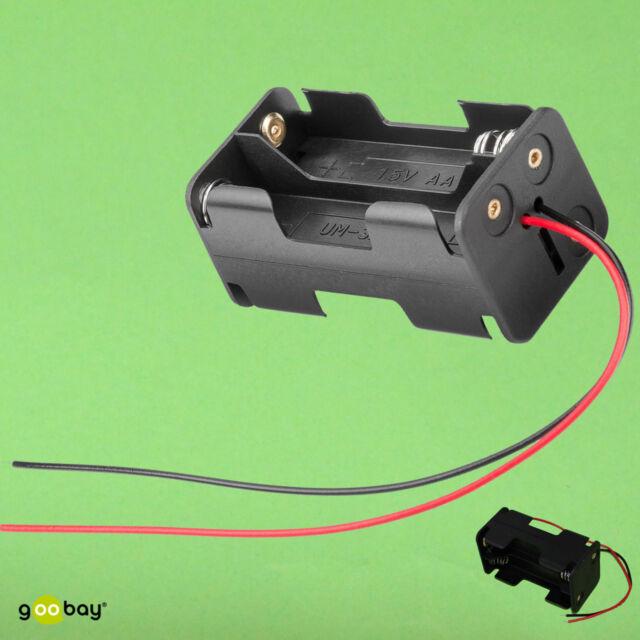 geschlossenes Geh/äuse Batteriehalter 1 St/ück lose Kabelenden Batteriefach Akkuhalter Aufbewahrungsbox 3X AA Mignon schaltbar mit EIN Aus Schalter wasserabweisend