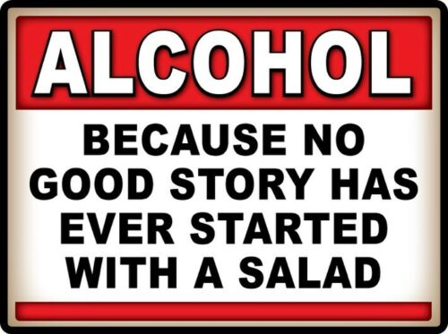 2 ALCOHOL Better than Salad STICKERS Decal Man Cave Bar Sign Garage FUNNY