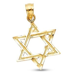 735a0472dd29e Details about Star Of David Pendant Solid 14k Yellow Gold Religious Charm  Jewish Diamond Cut