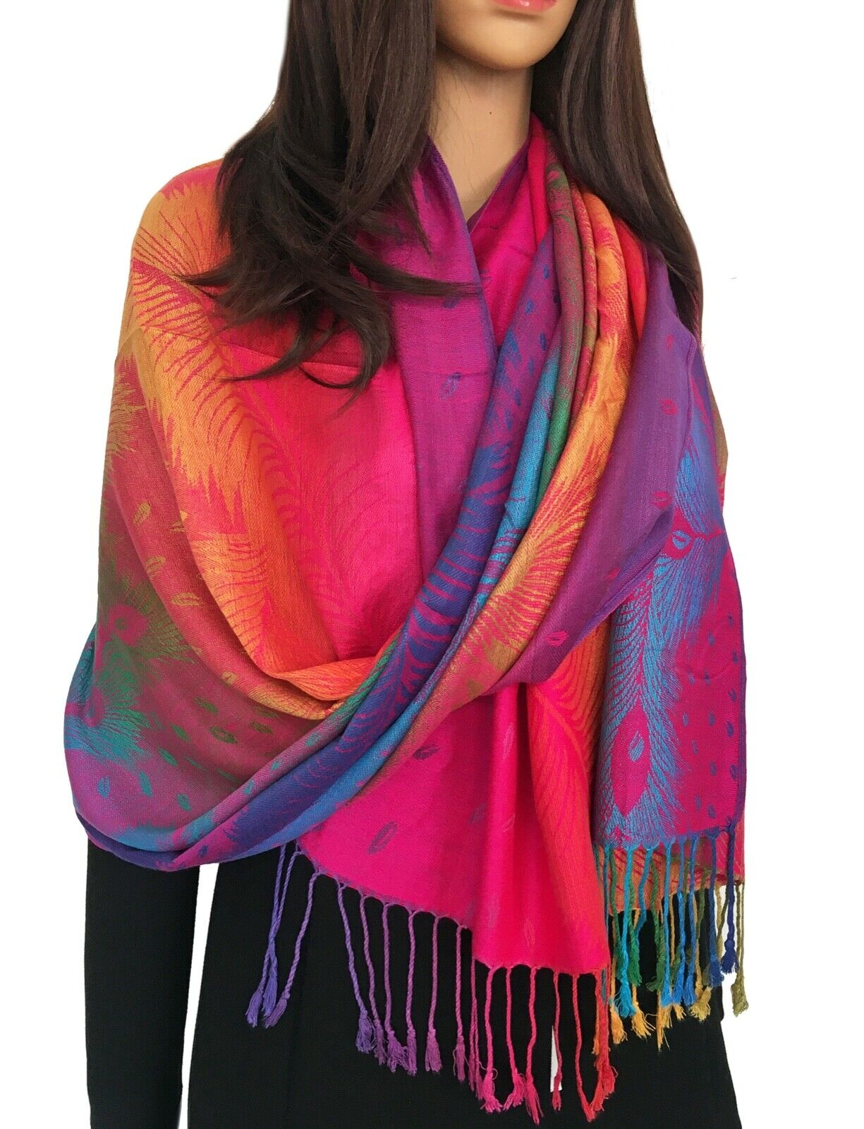 Hot Pink Feather Floral Peacock Scarf Bright Rainbow Multi Colour Pashmina Shawl