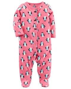 06049d568 Carter s Pink Penguin One-Piece Fleece Sleeper Pajamas Infant Baby ...