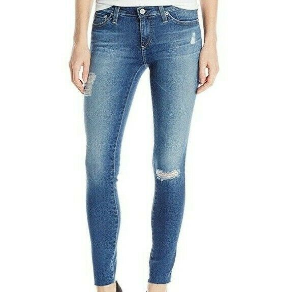 AG Adriano goldschmied Legging Ankle Super Skinny Destroyed Raw Hem Jeans 29