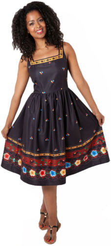 Voodoo Vixen FEARNE Fiesta MEXICAN FOLKLORE Träger Dress KLEID Rockabilly