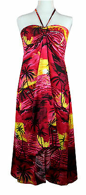 Sexy Tropical Hawaiian Halter Butterfly Pool Party Cruise Luau Sunset Red Palm