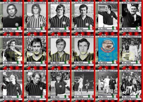 AC Milan 1973 EUROPEAN CUP WINNERS CUP WINNERS Football Trading Cards