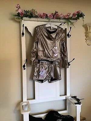 ???? Splendida Kate Mack Oro Vestito Giacca Pantaloni Corti Top Leggings Rrp £ 190 Age12-13-14-mostra Il Titolo Originale
